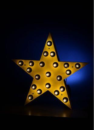 Светящаяся звезда с лампочками wood star