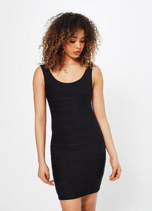 Базовое черное бандажное платье - майка