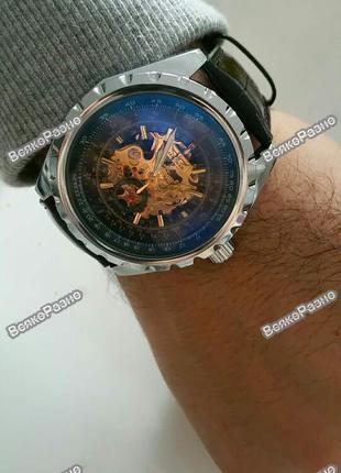 Мужские механические наручные часы JARAGAR Skeleton.