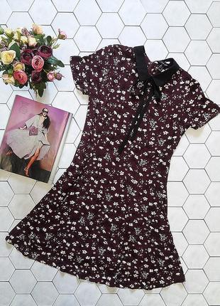 Платье из вискозы винного цвета с воротничком