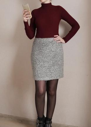 Зимняя теплая мини юбка с шерстью букле