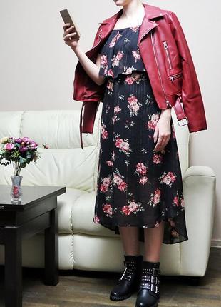 Миди платье в цветочный принт с воланом