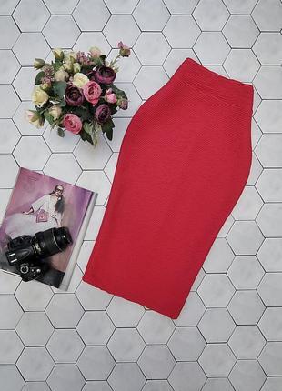 Трикотажная юбка карандаш из фактурной ткани
