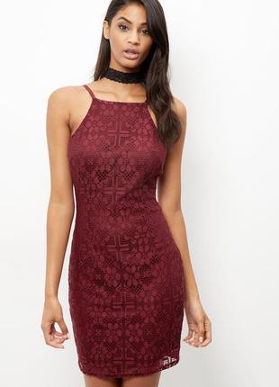 Кружевное платье винного цвета new look