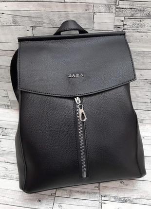 Женский рюкзак сумка с клапаном кожзам . черный