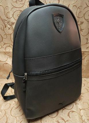 Рюкзак мужской городской кожаный . черный