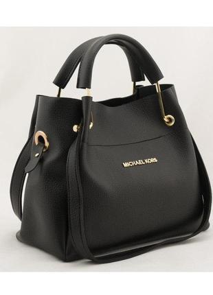 Женская черная сумка-шоппер в стиле майкл корс с отстёгивающей...