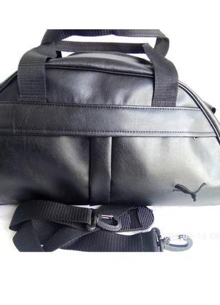 Спортивная сумка в стиле reebok черная экокожа