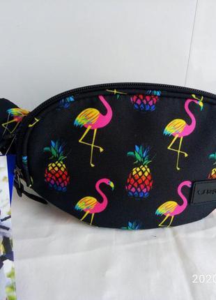 Бананка сумка на пояс , поясная сумочка bagland фламинго