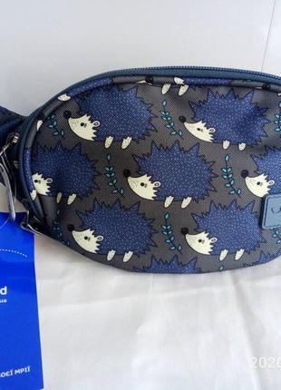 Бананка сумка на пояс , поясная сумочка bagland ёжики