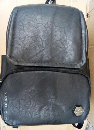 Рюкзак кожаный мужской городской вместительный. черный.