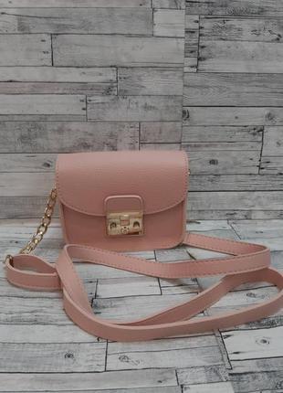 Женская маленькая сумочка клатч через плечо со съёмным кошельком.