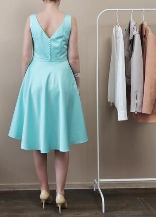 Брендова сатинова міді сукня / нарядное коктейльное миди плать...