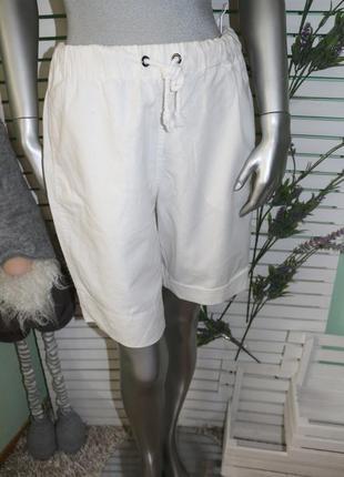 Льняные белые шорты bonprix