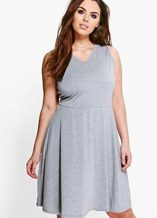 Новое меланжевое платье - футболка из вискозы boohoo