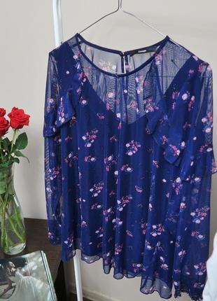 Цветочная ажурная блуза с воланами