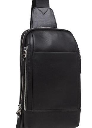 Сумка слинг рюкзак на одну лямку шлейку кожаный мужской  стиль...