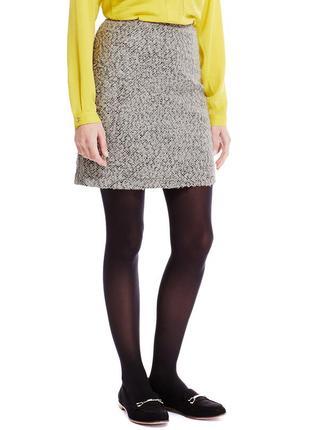 Зимняя теплая мини юбка с шерстью трапеция букле