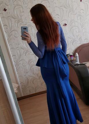Шикарное вечернее синее платье