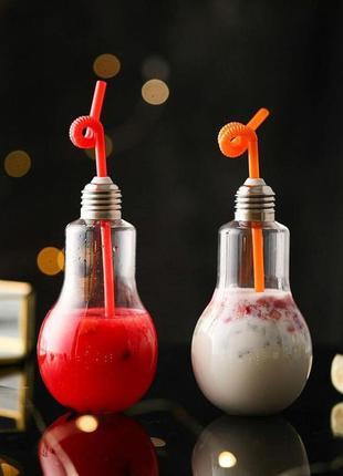 Коктейльный стеклянный стакан банка лампочка лампа с трубочкой...