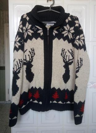 Теплый праздничный свитер tu с оленями шерстяной 170-175 рост