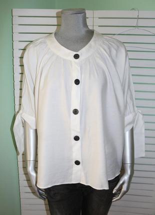 Белая рубашка свободного кроя zara
