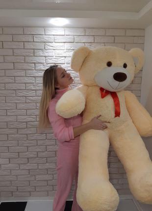 Большой мягкий Медведь - Молочный красная лента - 1.8 метра (180