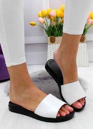 Новые женские кожаные белые  шлёпки шлёпанцы