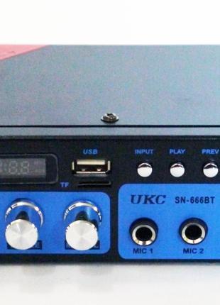 Усилитель звука UKC SN-666BT USB FM радио MP3 Bluetooth