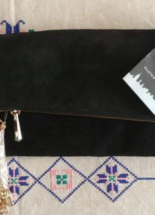 Черная замшевая сумка клатч натуральная кожа (плотная, замшева...