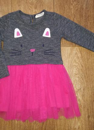 Платье с котиком для девочки 2-3 г