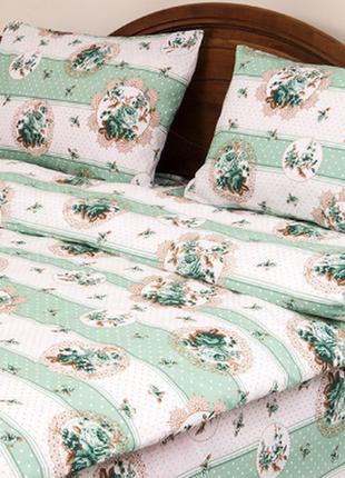 Постельное белье lotus ranforce - vintage зеленое полуторное