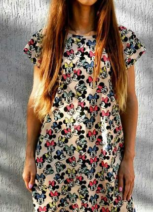 Легкое летнее платье с принтом микки-минни-маус