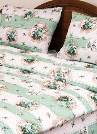 Постельное белье lotus ranforce - vintage зеленый двуспальное