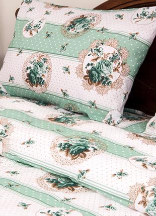 Постельное белье lotus ranforce - vintage зеленое евро