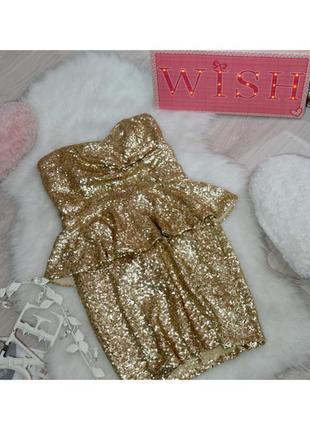 Золотое платье с баской в пайетках
