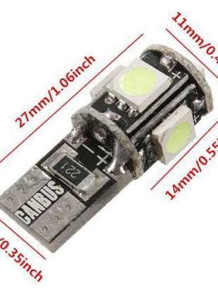 LED (светодиодные) лампочки в габаритные огни T10 5 Canbus.COB