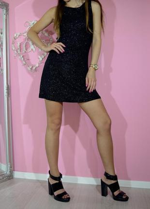 Шикарное летнее вечернее блестящее черное платье в блестках па...