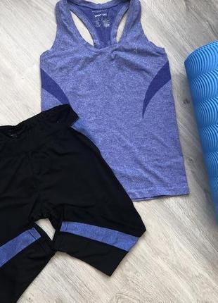 Костюм для фитнеса. work out бриджи + майка. размер 44-46