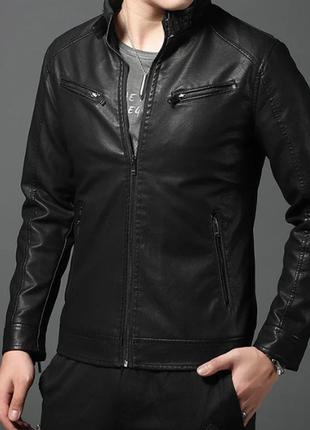 Мужская демисезонная куртка из экокожи  8548ал