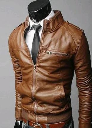Мужская куртка из экокожи  6457ал