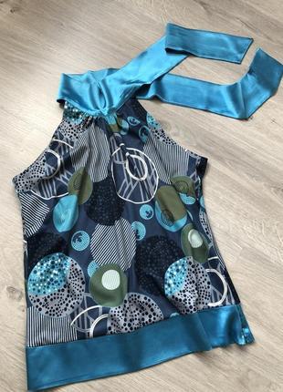 Красивая  элегантная блузка, блузка с бантом, блузка с принтом