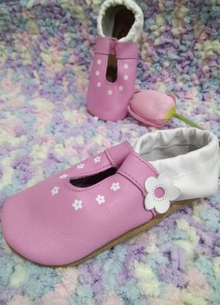 Детские кожаные балетки impidimpi /бело-розовые чешки на девоч...