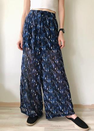 Тренд синие шифоновые свободные брюки палаццо