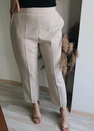 ❗️ скидки на все ❗️ молочно-бежевые брюки на резинке {под лён}