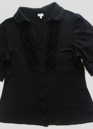 Чёрная трикотажная рубашка блуза сорочка 16uk 44 евро petite c...