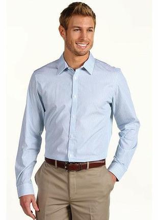 Рубашка офисная сорочка голубая с атласной полоской taylor&wright