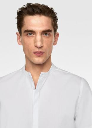 Белая рубашка zara man с воротником стойкой !