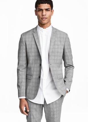 Пиджак h&m premium quality в клетку, skinny fit !
