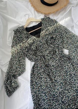 Шифоновое платье, сарафан в мелкий цветочный принт с рюшами ge...